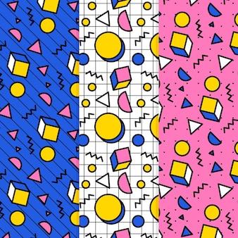 Paquete de patrones coloridos de memphis