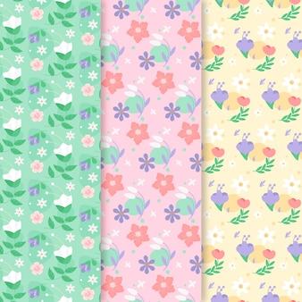 Paquete de patrones coloridos de primavera