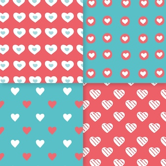 Paquete de patrones de corazón dibujado a mano