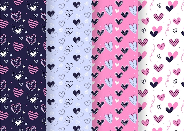 Paquete de patrones dibujados para el día de san valentín