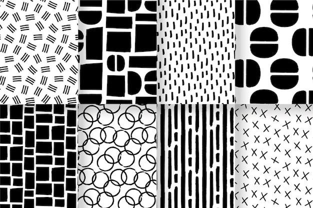 Paquete de patrones dibujados a mano abstracta