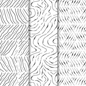Paquete de patrones dibujados a mano de grabado