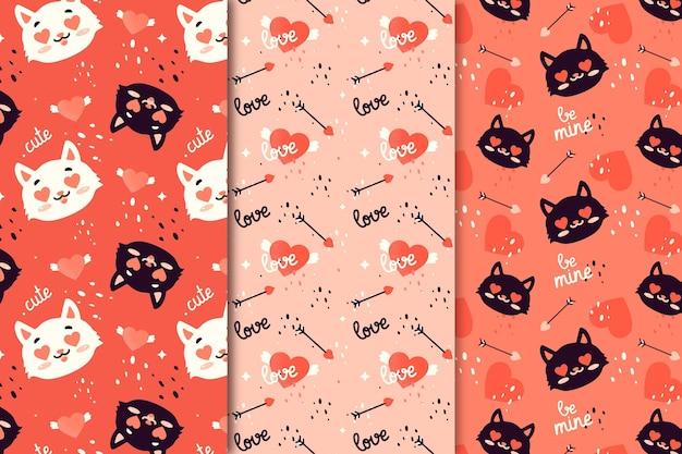 Paquete de patrones dibujados a mano de san valentín