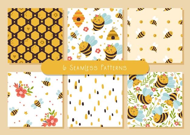 Paquete de patrones sin fisuras de honey bee, lindos insectos de dibujos animados de abejorros y flores de verano.