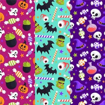 Paquete de patrones de halloween dibujados a mano