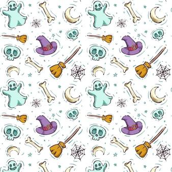Paquete de patrones de halloween de diseño dibujado a mano
