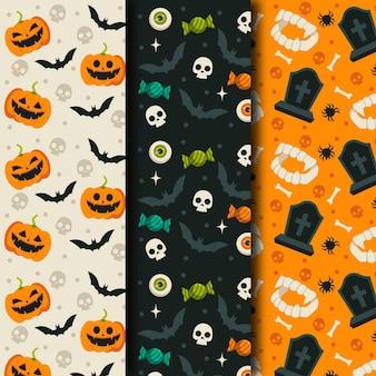 Paquete de patrones de halloween de diseño plano