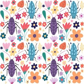 Paquete de patrones de insectos y flores