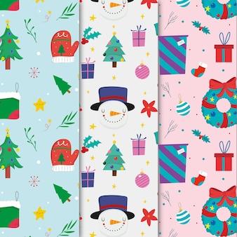 Paquete de patrones de navidad dibujados a mano