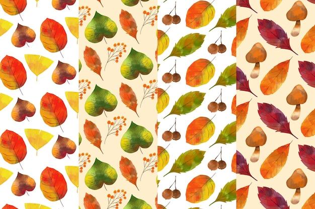 Paquete de patrones de otoño en acuarela