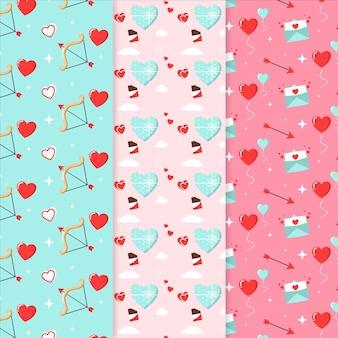 Paquete de patrones de san valentín de diseño plano