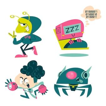 Paquete de pegatinas de ciencia ficción de dibujos animados retro