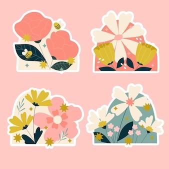 Paquete de pegatinas de flores y plantas ingenuas