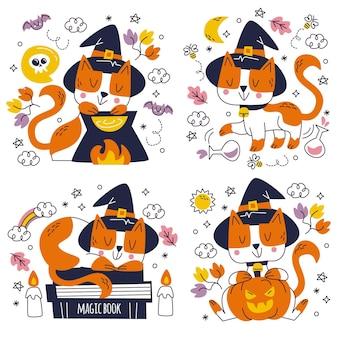 Paquete de pegatinas de halloween dibujadas a mano