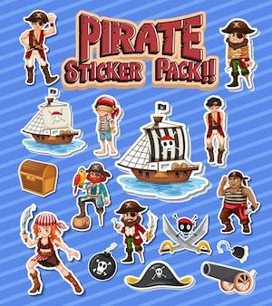 Paquete de pegatinas piratas con personaje de dibujos animados aislado