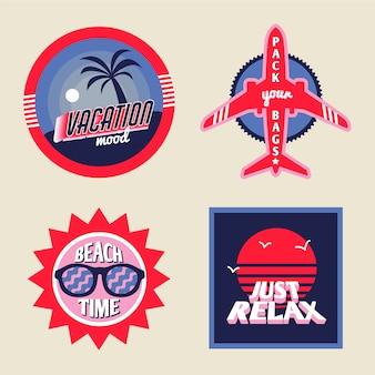 Paquete de pegatinas de vacaciones en estilo vintage