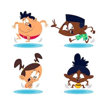 Paquete de pegatinas de verano de dibujos animados retro