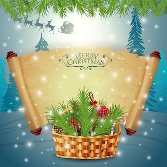 Un paquete de pergamino con cesta con ramas de árboles de navidad.
