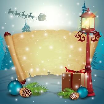 Un paquete de pergamino con regalos y linterna antigua.