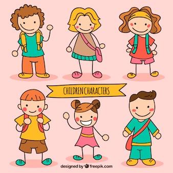Paquete de personaje de niños esbozados