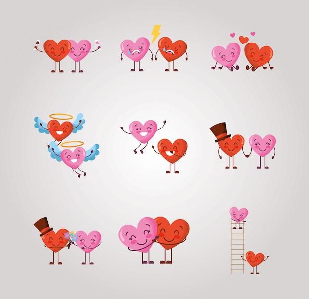 Paquete de personajes de corazones del día de san valentín
