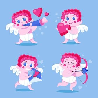Paquete de personajes de cupido del día de san valentín