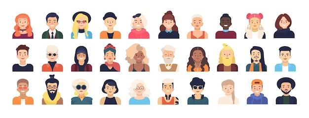 Paquete de personajes de dibujos animados masculinos y femeninos o avatares vestidos con ropa de moda y con diferentes peinados aislados sobre fondo blanco. conjunto de hombres y mujeres. ilustración de vector de estilo plano.