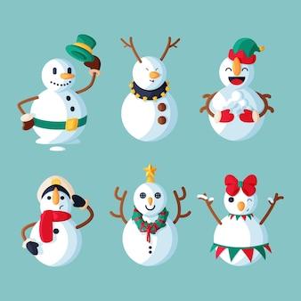 Paquete de personajes de muñeco de nieve de diseño plano