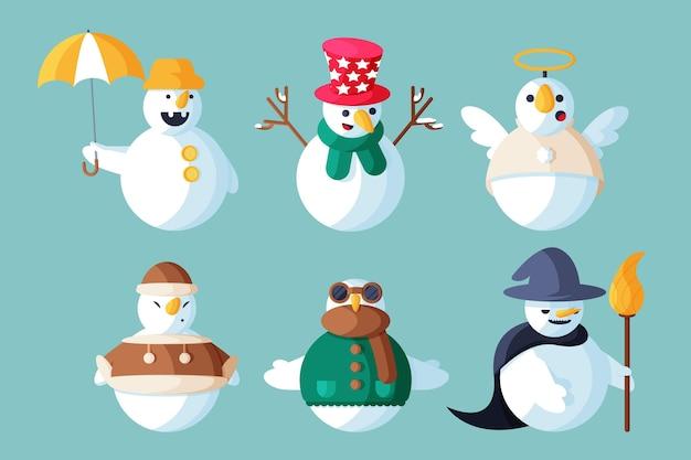 Paquete de personajes de muñeco de nieve de ilustración de diseño plano