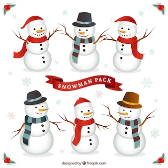 Paquete de personajes de muñeco de nieve