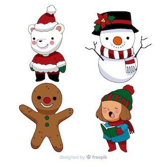 Paquete personajes navidad dibujo animado