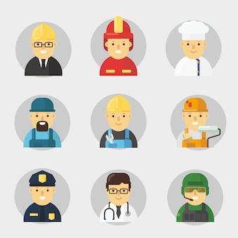 Paquete de personajes de la profesión en diseño plano