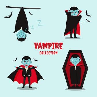 Paquete de personajes vampiros de diseño plano