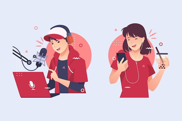 Paquete de personas grabando y escuchando podcasts
