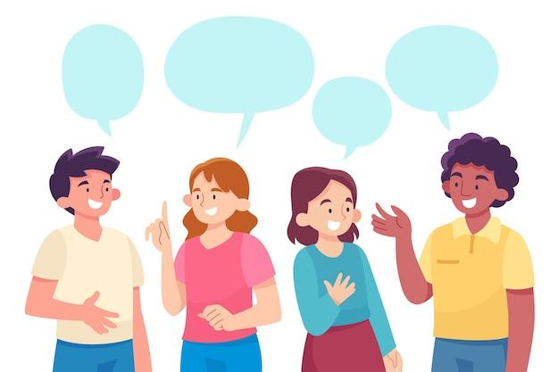 Paquete de personas hablando planas