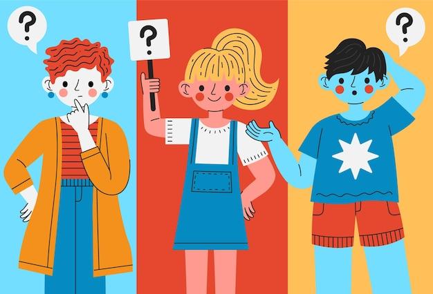 Paquete de personas planas orgánicas haciendo preguntas