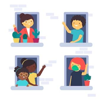 Paquete de personas que se quedan en sus balcones