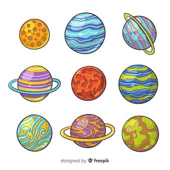 Paquete planetario de diseño plano