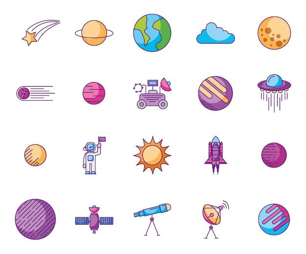 Paquete de planetas e íconos espaciales