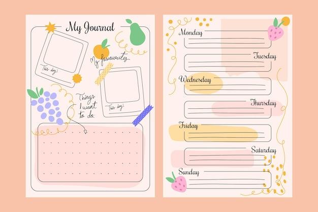 Paquete de planificador de diario creativo de balas