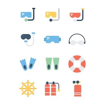Paquete plano de accesorios de natación