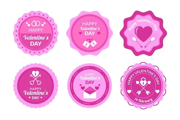 Paquete plano de etiquetas / distintivos de san valentín