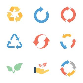 Paquete plano de reciclaje y ecología