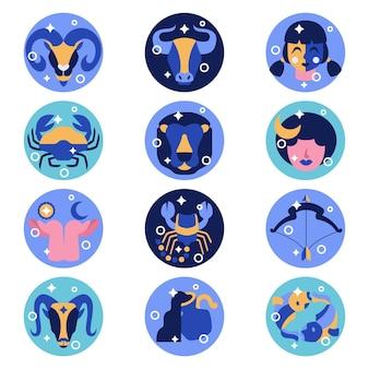 Paquete plano de signos del zodíaco