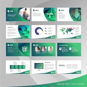 Paquete de plantilla de concepto de diseño de presentación con elementos vectoriales