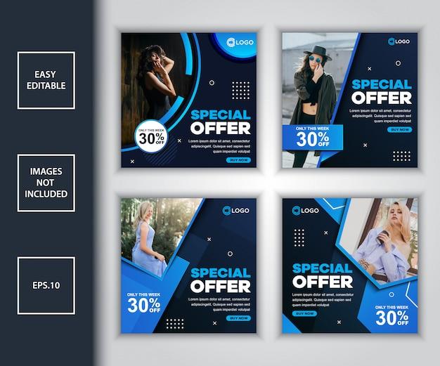 Paquete de plantilla de diseño de publicación de redes sociales de promoción de venta