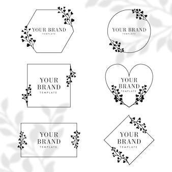 Paquete de plantilla editable de logotipo de marco botánico de naturaleza floral simple