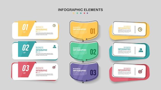 Paquete de plantilla de elemento de infografía.