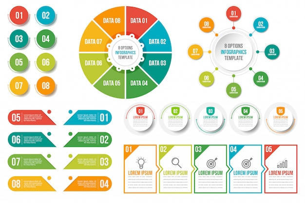 Paquete de plantilla de infografías de negocios