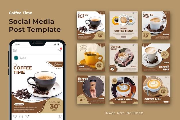 Paquete de plantilla de publicación de redes sociales de café